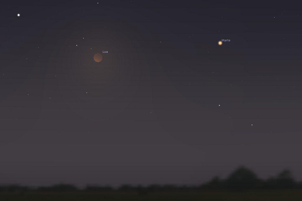 Simulação do Eclipse em Conjunção com Marte - Fonte: Stellarium