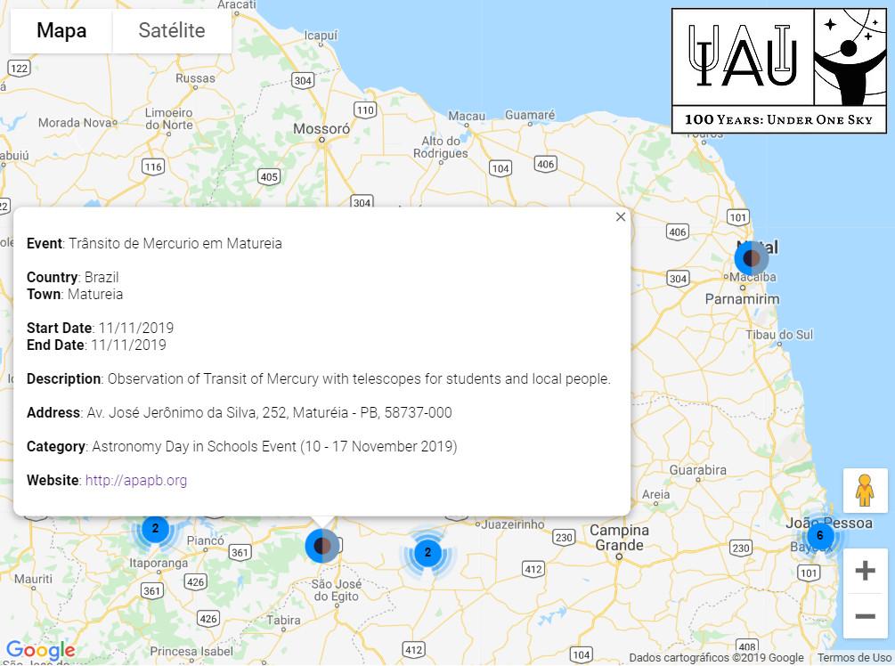 Mapa de eventos da IAU em 2019 incluindo as observações do Trânsito de Mercúrio na PB