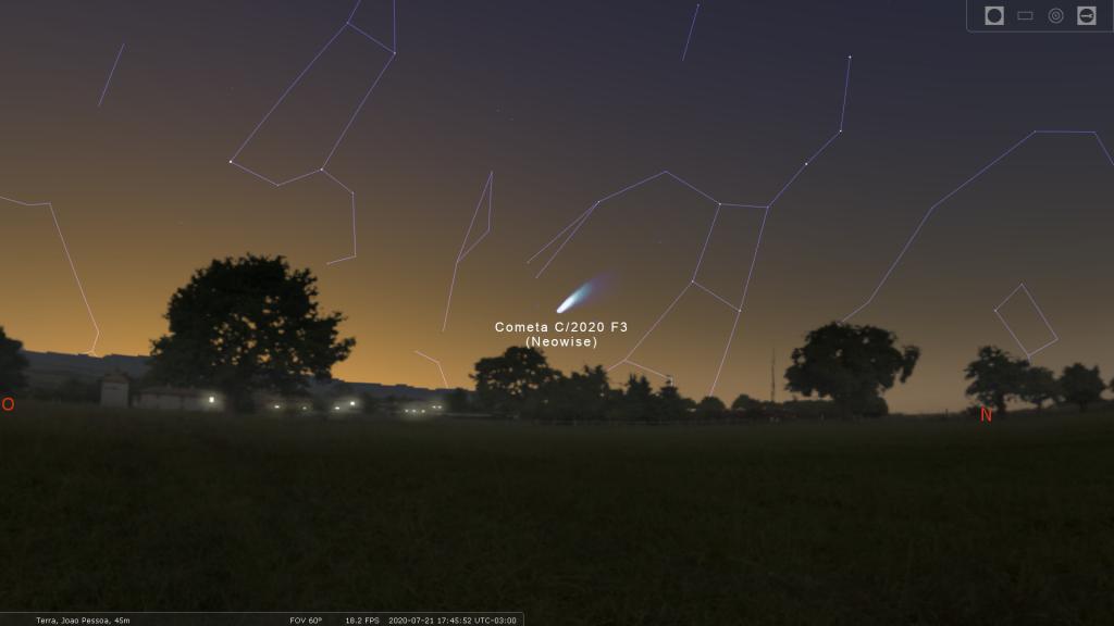 Posição do Cometa C/2020 F3 (Neowise) no céu de João Pessoa no dia 21 de julho - Imagem: stellarium.org